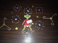 Elf on the Shelf - hotel fun - cotton bud snowflakes