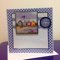 Beach Huts, Halcyon Days Crafters Companion Cards, Cd Crafts, Halcyon Days, Beach Huts, Rainbow Theme, Stampin Up Cards, Bunting, Seaside, Card Ideas