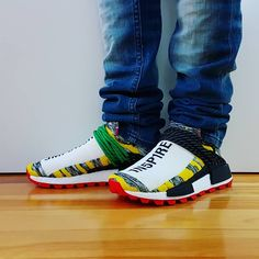 7b4381d241aa Comment Tag a friend who will cop Go check out my Pharrell X Adidas NMD Hu  Solar Pack (Core Black Red) on feet video. Quick…""