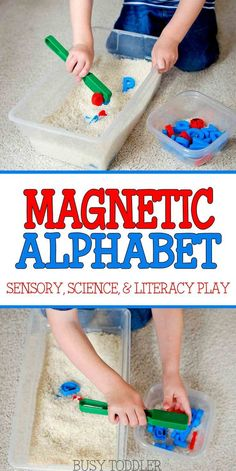 Magnetic Alphabet Sensory Bin: An easy toddler activity; a great indoor activity for literacy, science, and sensory fun. Toddler's will love this simple to make activity.