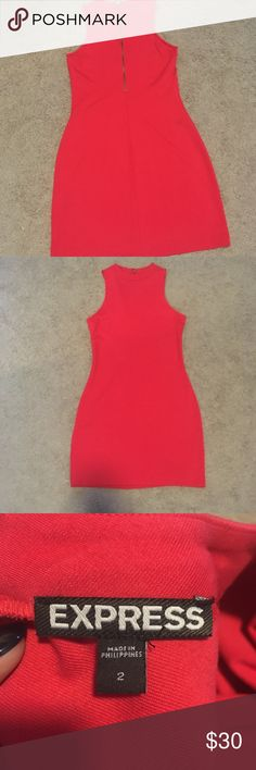 Pink bodycon dress Express  Size: 2 Never worn  Body con  Gold exposed zipper at back  In brand new condition, no tags Express Dresses Mini