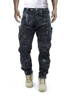 Survival Tactical Gear Men's Airsoft Wargame Tactical Pants with Knee Protection System & Air Circulation System (Typhon Camo, L)