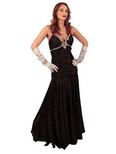 Black Satin Rhinestone Trimmed 30s Inspired Elegant Evening Dress, $160