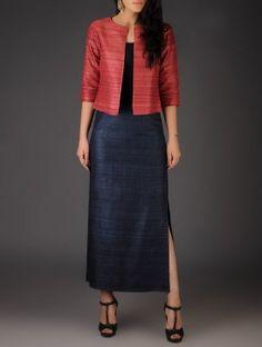 Navy Ghicha Silk Side Slit Skirt