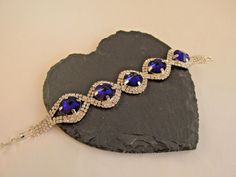 Pre-Loved Glass Crystal Bracelet Stunning Blue Accent Glass Crystals Bridal/Prom #Unbranded