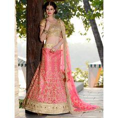 Pink Net Lehenga Choli with Resham Embroidery Work - SC1203 - Lehenga Choli - Catalogs