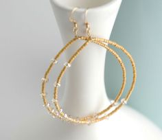 Beaded Hoop Earrings  PALISADES Collection Gold by AlexiaViolaNapa, $32.00