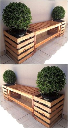 The reshaped wood pallets DIY structures are very useful and effective to revamp. The reshaped wood pallets DIY structures are very useful and effective to revamp the old and boring area of the house with completely new furniture. Diy Pallet Projects, Garden Projects, Art Projects, Outdoor Wood Projects, House Projects, Projects For Kids, Indoor Garden, Outdoor Gardens, Courtyard Gardens