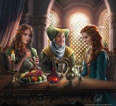 Lady Olenna Tyrell with Margaery Tyrell and Sansa Stark