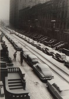 CARS IN SNOW, WEST 88TH STREET, NEW YORK CITY, 1952. Ruth Orkin. Gelatin silver.