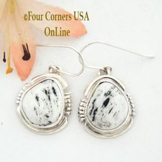 Four Corners USA Online - White Buffalo Turquoise Sterling Silver Earrings by Native American Navajo Argke Nelson NAER-1475, $126.00 (http://stores.fourcornersusaonline.com/white-buffalo-turquoise-sterling-silver-earrings-by-native-american-navajo-argke-nelson-naer-1475/)