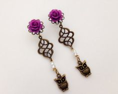 2g Ear Plugs Dangle Plugs with Roses And Owl Dangles 6g, 0g, 4g Gauged Earrings, 21 Colors Body Body Jewelry Ear Piercing