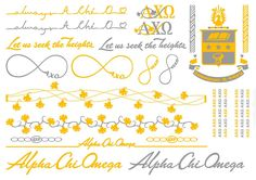 We've re-imagined sorority spirit with these gorgeous, flashy Alpha Chi Omega temporary jewelry tattoos! Including all of AXO's symbols.