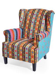 """Bekijk nu:Gezellige fauteuil in kleurrijk patchworkdesign om lekker in te lezen of tv te kijken. Zithoogte ca.42cm. De montagehandleiding wordt meegeleverd.Let op, dit is een bijzondere bezorgservice! Meer informatie vindt u onder """"Service""""."""