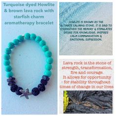 Turquoise dyed Howlite with brown lava rock and starfish charm $10.00