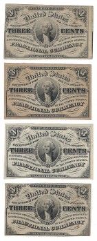 Fr. 1226 3rd Issue 3 Cent Fractionals (4) A total of 4 fractionals are offered here. All the fractionals are from a single collection assembled in the 1960s. All are conservatively graded.