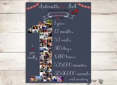 Celebrate your FIRST Anniversary and a year of LOVE with this Personalized Canvas or Print featuring your own pictures in the shape of the number 1! You can use your wedding photos, engagements photos, vacation photos, Honeymoon photos, iPhone photos... the possibilities are