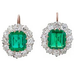 Exquisite Edwardian Emerald, Diamond, Platinum & Gold Earrings   From a unique collection of vintage drop earrings at http://www.1stdibs.com/jewelry/earrings/drop-earrings/