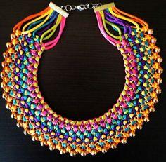 como hacer un collar tejido con cadena - Buscar con Google
