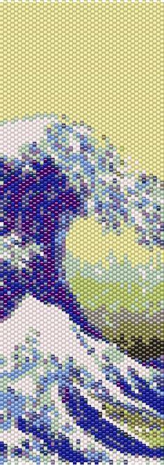 Great Wave off Kanagawa Peyote Stitch Pattern - Cuff Bracelet - Bookmark - PDF file