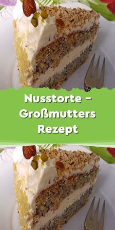 Nusstorte – Großmutters Rezept Ingredients: For the dough: 200 g sugar 10 egg yolks 250 g nuts ground 3 tablespoons breadcrumbs some bitter almond flavor 10 egg whites … Cake Mix Cookie Recipes, Butter Cookies Recipe, Dessert Recipes, Chocolate Cake Recipe Easy, Chocolate Cookie Recipes, Mini Desserts, Baked Cheesecake Recipe, Food Cakes, Cookies Et Biscuits
