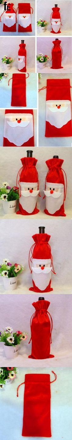 5 pcs/lot Christmas Wine Bag Santa Bag Christmas Decoration Red Wine Bottle Cover Bags Home Party Decors  $17.38