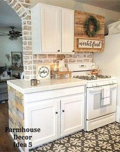 Small farmhouse kitchen decorating idea - Clutter-free Farmhouse Decor Ideas. brick wall