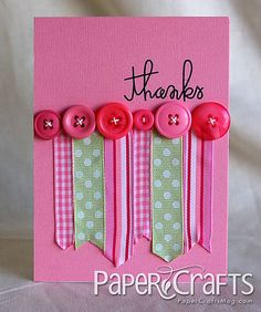 Ribbon/button card by Teri Anderson, Paper Crafts
