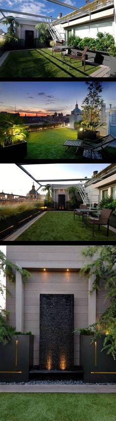El césped artificial y la fuente proporcionan al proyecto la sensación de frescura imprescincible para el ático urbano. Las jardineras se ralizaron a medida en acero cortén lacado con iluminación interior (diseñadas por Casla). Por Casla Jardineria y Paisajismo: