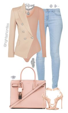"""""""Untitled #2700"""" by highfashionfiles on Polyvore featuring Zara, Wolford, Yves Saint Laurent, Fallon, Balmain, Bliss Diamond, Harry Kotlar, Rolex and Dsquared2"""