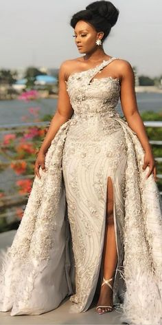 African Bridesmaid Dresses, African Lace Dresses, Bridesmaid Dress Styles, Lace Ball Gowns, Ball Dresses, Nice Dresses, Perfect Wedding Dress, One Shoulder Wedding Dress, Dream Wedding