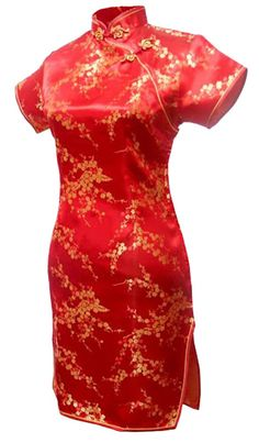 7Fairy Women's Sexy Red Floral Mini Chinese Evening Dress Cheongsam Size 2 US