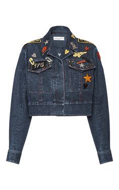 Embroidered Patches Cropped Denim Jacket by SONIA RYKIEL for Preorder on Moda Operandi