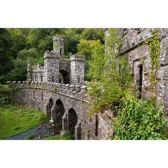 Solid-Faced Canvas Print Wall Art Print entitled The Inner Gates and Bridge, Ballysaggartmore Towers, Lismore, County Waterford, Ireland Castle Gate, Castle Ruins, Front Gates, Entry Gates, Beautiful Ruins, Beautiful Places, Waterford Ireland, Panoramic Images, Ireland Travel