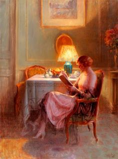 Enjolras, Delphin (1857-1945) Reading by the lamp
