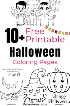 10+ Free Printable Halloween Coloring Pages Bat Coloring Pages, Free Halloween Coloring Pages, Free Kids Coloring Pages, Coloring Sheets For Kids, Free Printable Coloring Pages, Free Printables, Easy Halloween Crafts, Diy Halloween Costumes For Kids, Toddler Halloween