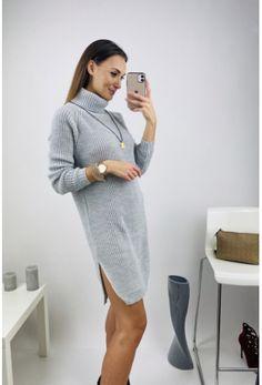 Sivé svetrové šaty s rolákom Sweaters, Dresses, Fashion, Vestidos, Moda, Fashion Styles, Sweater, Dress, Fashion Illustrations