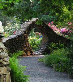 stone arch garden entry