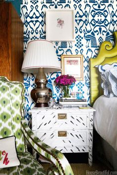 In her bedroom, a zebra brings personality to her hand-painted nightstand.