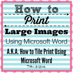 How to print Large images using MS Word Computer Lessons, Computer Basics, Computer Help, Computer Internet, Computer Tips, Computer Class, Computer Art, Technology Hacks, Computer Technology
