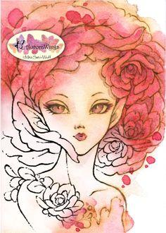 Digital Stamp - Rose Fairy 2 - Instant Download - Elf Ears Big Eyes Rose Petal - Fantasy Line Art for Cards & Crafts by Mitzi Sato-Wiuff