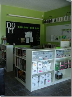 Great idea for dividers/storage for my craft room. except i would turn storage face in to have access to my stuff! great way to separate room for half my craft/half kids craft room Classroom Layout, Classroom Organisation, Classroom Design, Classroom Decor, Classroom Walls, Classroom Furniture, Office Organization, Classroom Arrangement, Ideas Para Organizar