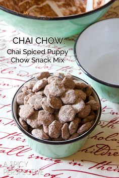 Chai Puppy Chow ~ Completely irresistible puppy chow recipe snack variation with chocolate (Nutella) and exotic Chai flavor! Plus it takes only 4 ingredients and 5 minutes to make ~ the perfect edible gift this season! Puppy Chow Recipes, Chex Mix Recipes, Snack Recipes, Dessert Recipes, Baking Recipes, Just Desserts, Delicious Desserts, Yummy Food, Fudge