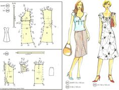 Top n dress Barbie Patterns, Dress Sewing Patterns, Clothing Patterns, Sewing Clothes, Diy Clothes, Diy Fashion, Retro Fashion, Pattern Drafting Tutorials, Make Your Own Clothes