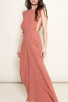 AWAVEAWAKE Apron Maxi Dress in Setting Sun Pink | ETHICA | Natural, plant-based dyes | Made from sustainable fibers and fabrics, such as bamboo, silk and hemp | Ethical sourcing and production