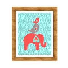 Elephant and Birds Nursery Print, Coral and Aqua- Kids Wall Art, Nursery art, Baby Girl Nursery