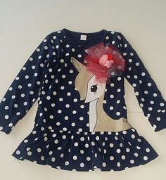 This is an absolutely adorable New Boutique Christmas dress featuring a deer Navy dress with white polka dots very cute Size 5 Kids Boutique, Christmas Deer, Navy Dress, Bell Sleeve Top, Polka Dots, Cute, App, Dresses, Women
