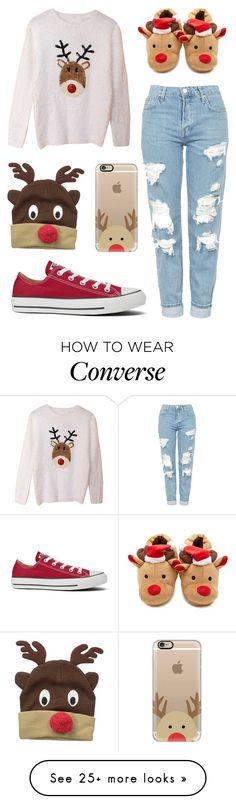 """""""Reindeer"""" by pattibear on Polyvore featuring Topshop, Converse, D&Y, Casetify and Forever 21"""