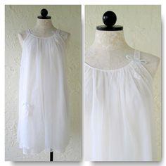 Lisette Designed by Al Sterling White Chiffon Vintage Nightgown- Size P VintageHag.com