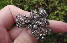 Vintage, Silver, Marcasite, Brooch, Gift, 40s, 50s, Jewellery, Jewelry, Silver Brooch, Flowers by DecadentAndFabulous on Etsy